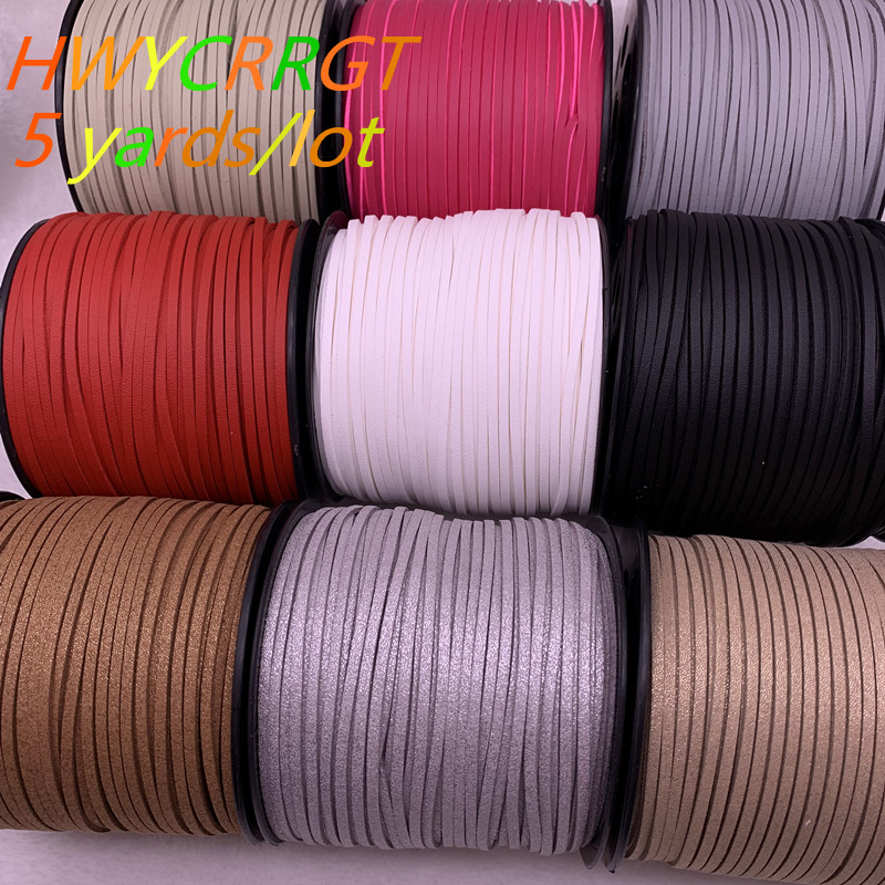 NEW 5yards/lot 3mm Flat Faux Suede Braided Cord Korean Velvet Leather Handmade Beading Bracelet Jewelry String