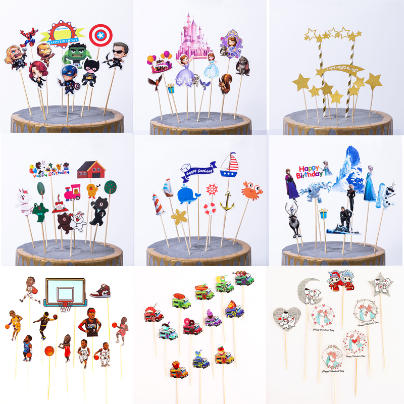 1set/pack Mermaid Theme Happy Birthday Party Avengers Frozen Cake Topper Kids Favors Decorate  With Sticks Baby Shower Supplies