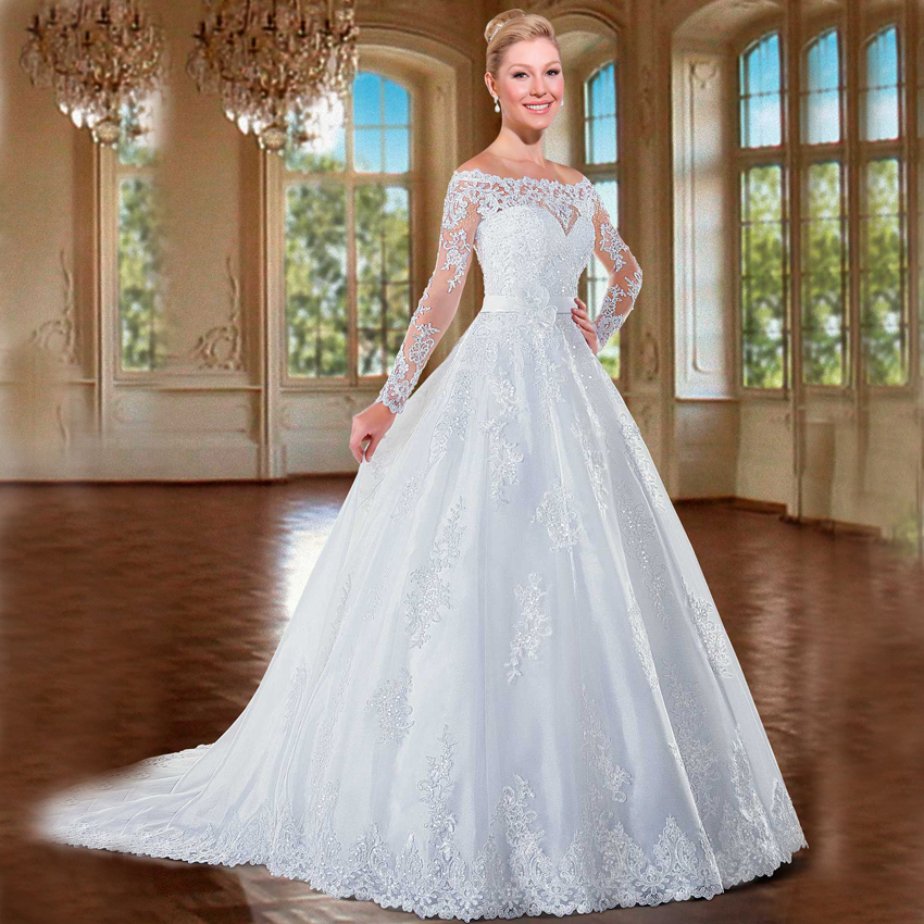 Wedding Dress Ball Gown Style: FW1217 Luxury Brazil Style Beads Long Sleeves Ball Gown