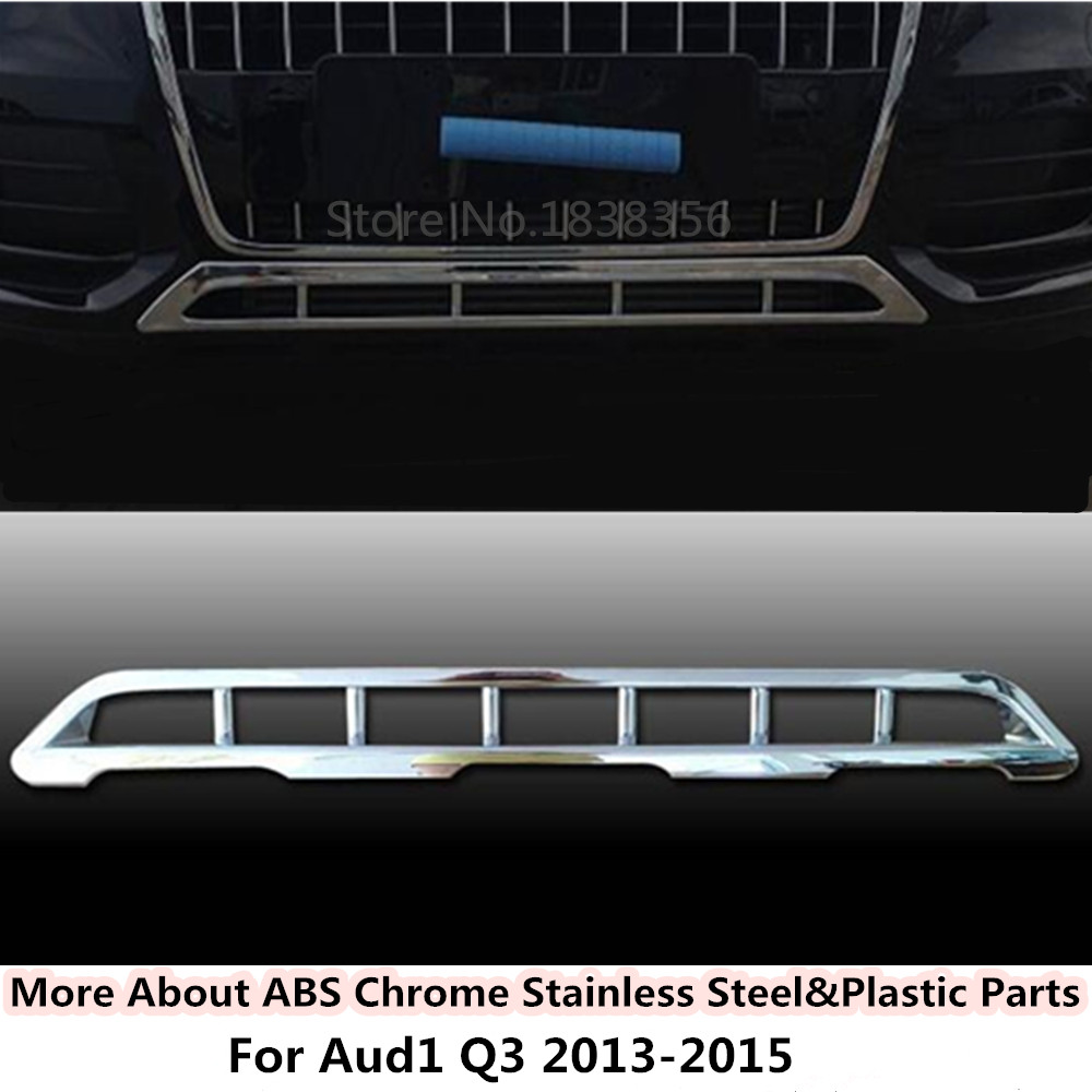 цена на For Audi Q3 2013 2014 2015 Car body style cover protection detector ABS chrome trim Front bottom Grid Grill Grille Around 1pcs