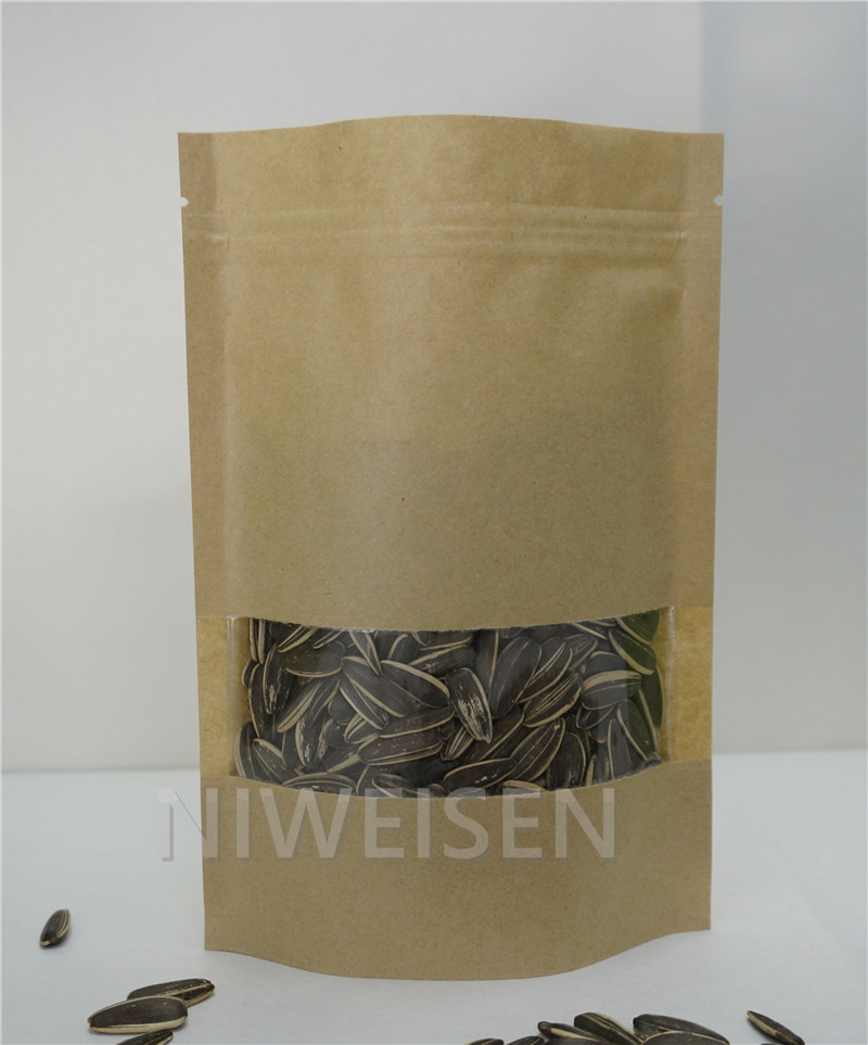 <font><b>12x20</b></font>+4cm,100pcs Brown Stand up Kraft paper bag with Clear window, Resealable Zip Lock Craft Pouches Bean packaging Grip sealing image