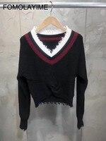 FOMOLAYIME пуловер Свитера 2018 осень зима Новые короткие Стиль Лоскутная v образным вырезом черный Для женщин свитер