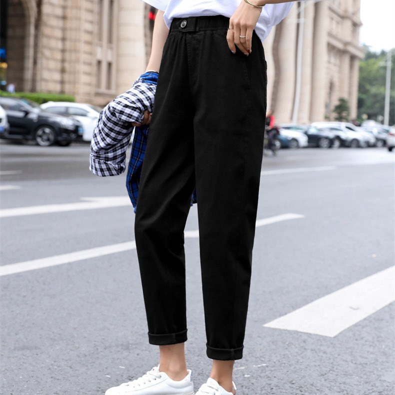 Plus Size High Waist Casual Straight   Pants   Women Vintage   Pants   Harem   Pants   Pleated Loose Solid Trousers