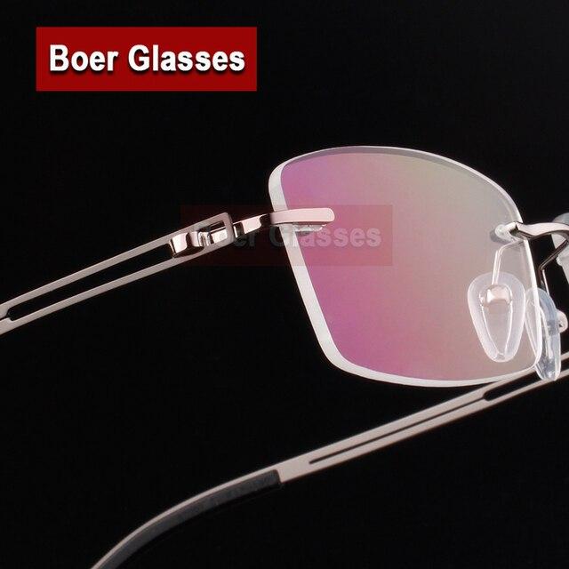 45d7f88b2a594 Aço inoxidável Homens Armações de Óculos Sem Aro Óculos de Miopia Armação  de Óculos Óptica Prescrição