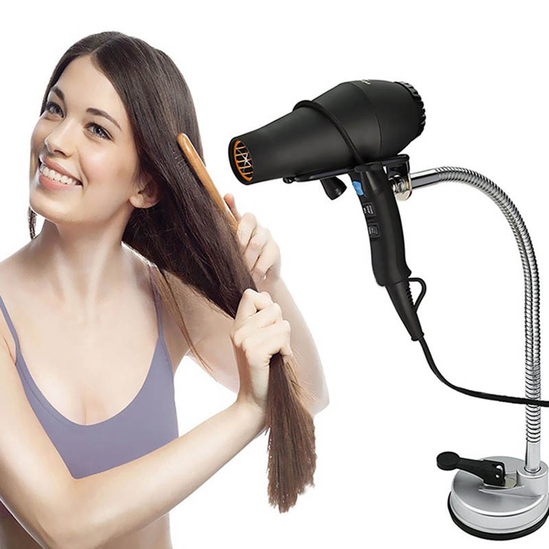 1 PC Portable 360 Degrees Metal Bathroom Accessories Stand Suction Hair Dryer Holder Hands Free Hairdryer Rack