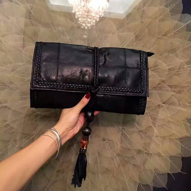 Hot Knitted Leather Luxury Designer Brand Tassel Clutch Women Evening Bags New 2016 High Quality Fashion Chain Crossbody Bags