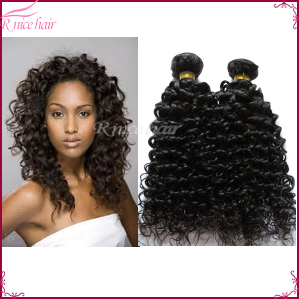 1pcs 100g Curly Hair Extensions 10 26inch Natural Black Curly