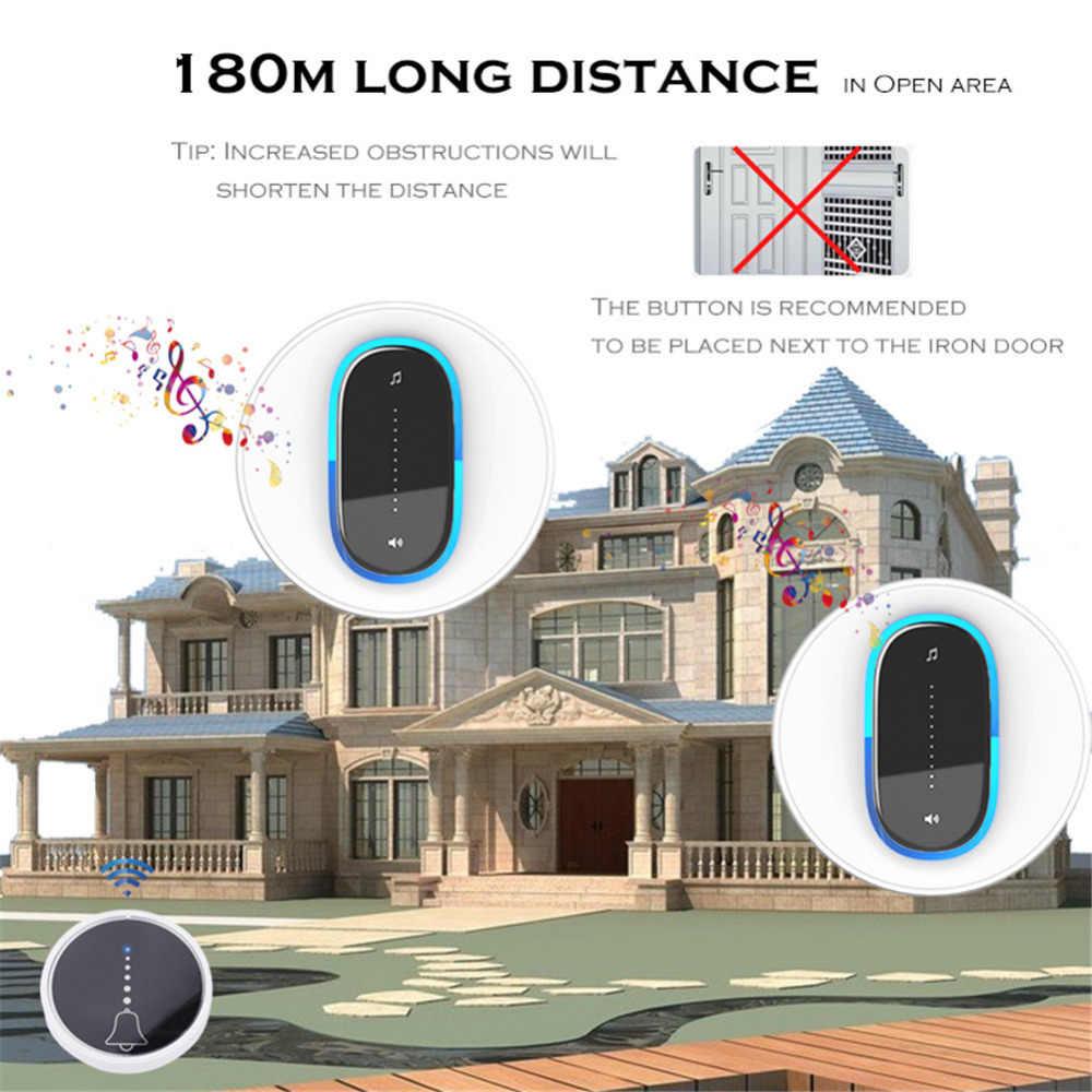 YIFAN EU UK Plug-in self powered Wireless DoorBell กันน้ำ 180M บ้าน Bell แหวน 1 ปุ่ม 1 2 ตัวรับสัญญาณไม่มีแบตเตอรี่