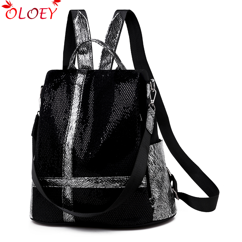 2019 New Luxury Backpack Female Designer Fashion Wild Female Backpack Non-woven Sequins High Quality Casual Bag Large Capacity