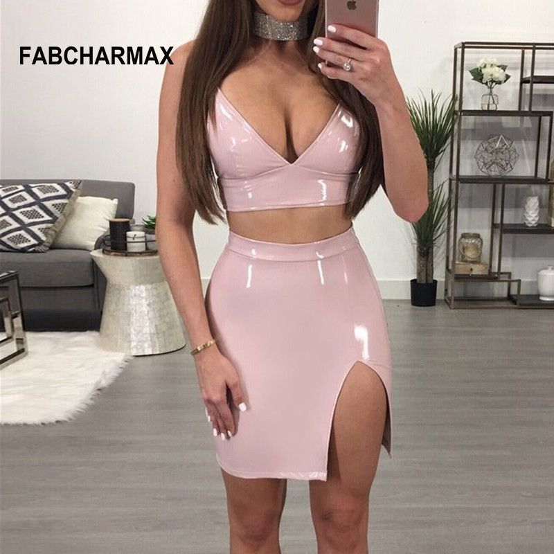 Black Red Pink PU Leather Latex Slit Dress Set Sexy Spaghetti Strap Backless Bandage Party Dress Two Piece Outfit Women Clubwear