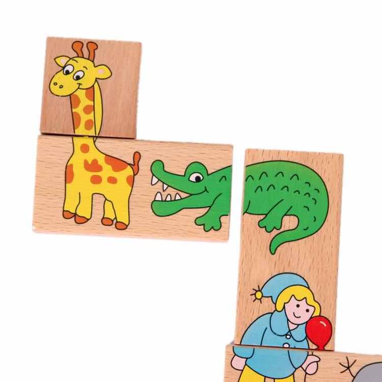 Mainan Bayi Haiwan Haiwan Domino 15Pcs Blok Bangunan Mainan Kayu - Mainan pembinaan - Foto 6
