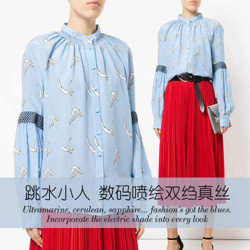 Diving villain digital inkjet silk crepe de chine fabric soft shirt dress crepe fabric 100 silk