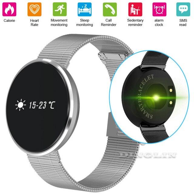 GZDL 2017 New Smart Band Bluetooth Wristband Heart Rate Monitor Blood Pressure Meter Pedometer Alarm Clock Metal Bracelet WT8131