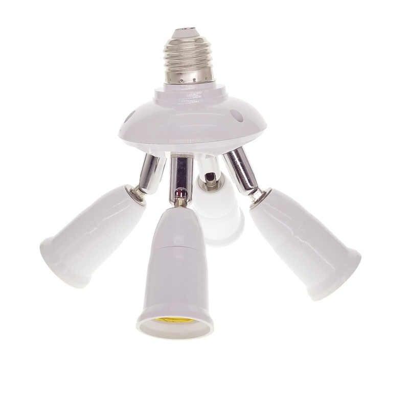 Adjustable Rotatable 5 in1 E27 Base LED Bulb Holder Socket Splitter Light Lamp Bulb Adapter Holder 1 to 5 Lamp Bases