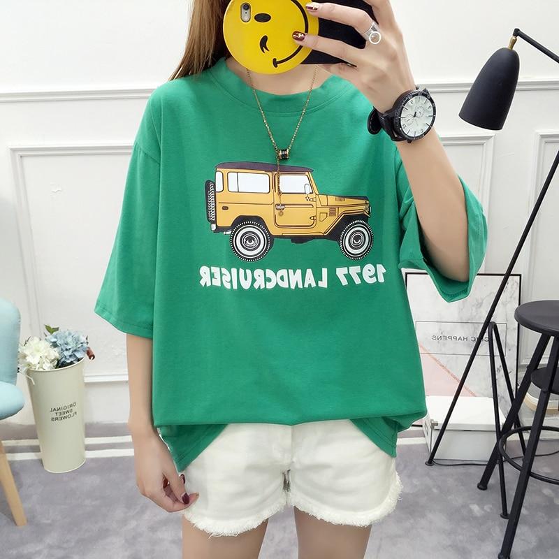 2018 New Summer Women T-shirt Kawaii Car Graphic Print Student T-shirt Loose Plus Size Short Sleeve T-shirt Casual Women Tops