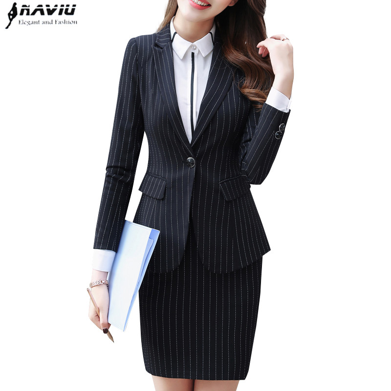 2018 Spring new fashion stripe skirt suit Business formal long sleeve slim blazer and skirt office