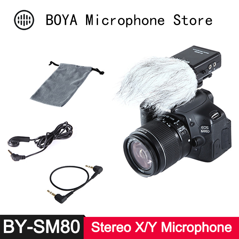 BOYA BY SM80 Mini Stereo X/Y Condenser Light Compact Microphone for Canon Nikon Sony DSLR Video Camera Camcorder Audio Recorder