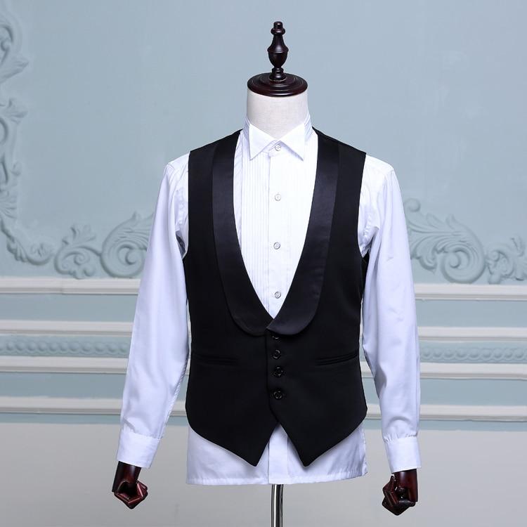 Fashion Mens Stage Show Waistcoat Black Shawl Collar Host Master Of Ceremonies Men Suit Vest Gilet Vests & Waistcoats