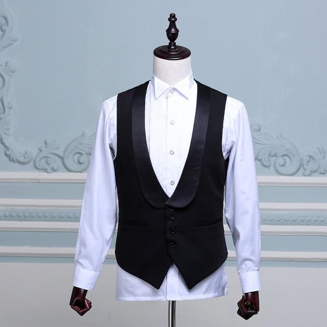 Moda hombres stage show chaleco cuello de chal negro maestro de ceremonias de acogida hombres traje chaleco gilet chalecos y chalecos