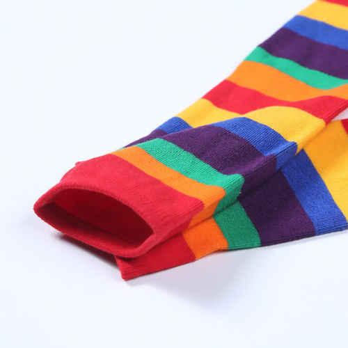 Pudcoco Sonbahar Bebek Çocuk Sevimli Kız Diz Yüksek Gökkuşağı Çok Renkli Çizgili Tüp Sıcak Çorap