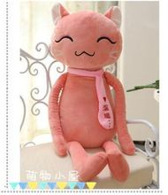 new middle size plush pink cat toy lovely scraf cat pillow doll gift about 90cm