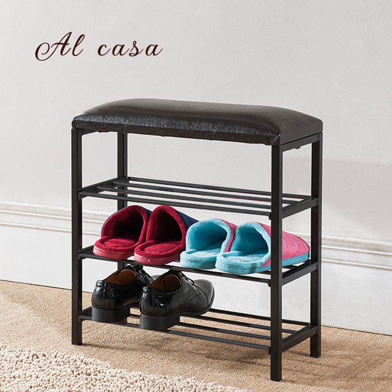 shoes rack carbinet 3 layers  iron shoe stool shelves storage furniture for organization continental iron shoe multilayer simple stainless steel dust storage shoe iron shoe rack folding shelves