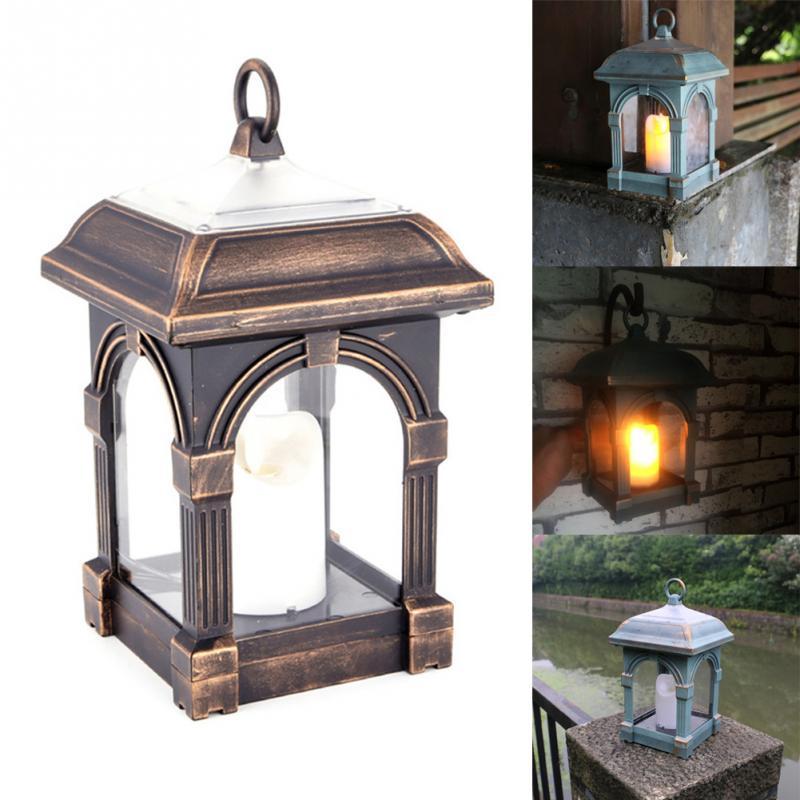 цена на LED Waterproof Yard Candle Lamp Retro Hanging Camping Hanging Lantern Solar Powered Garden Decoration Lighting