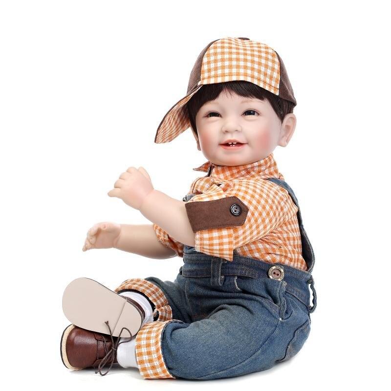 22 pouces 55 cm silicone vinyle Reborn bébé jouet poupée souriant soleil garçon réaliste poupées vives enfants mode cadeau d'anniversaire présent