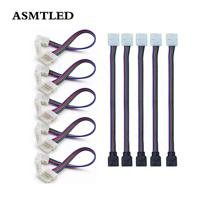 5pcs/lot 4 Pin RGB LED Strip Connector Wire Female Cable Free Welding Extension Connector for RGB Non-Waterproof LED Tape Light