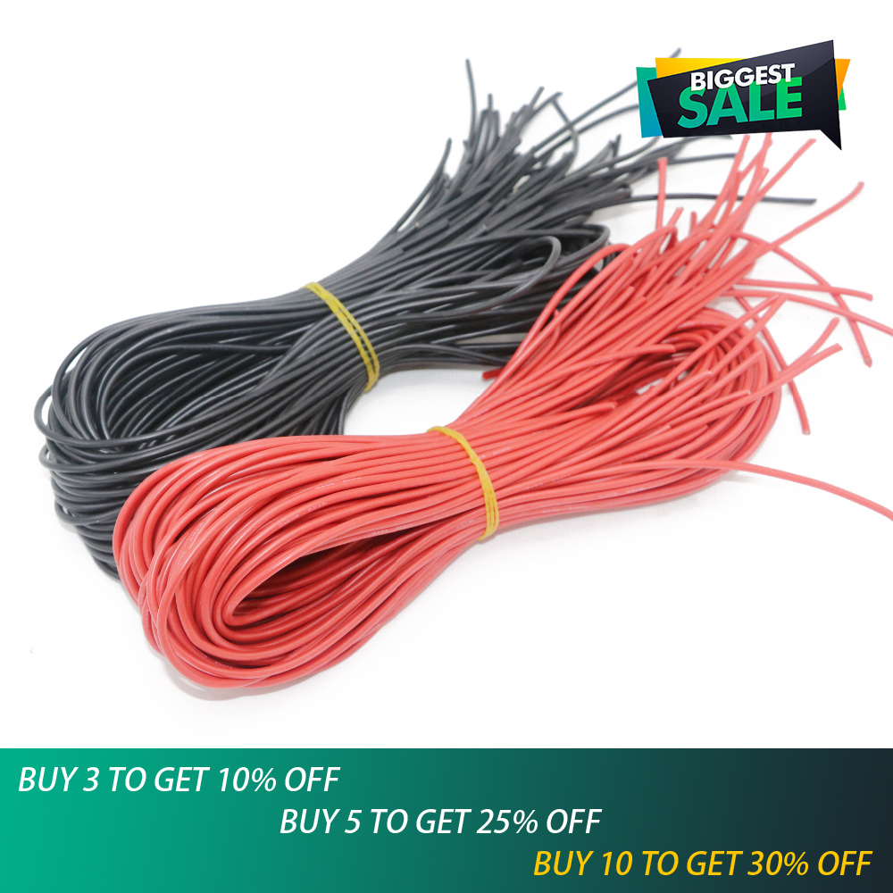 2M High Quality Silicone Rubber Wire Cable Red Black Flexible(1M Red And 1M Black)