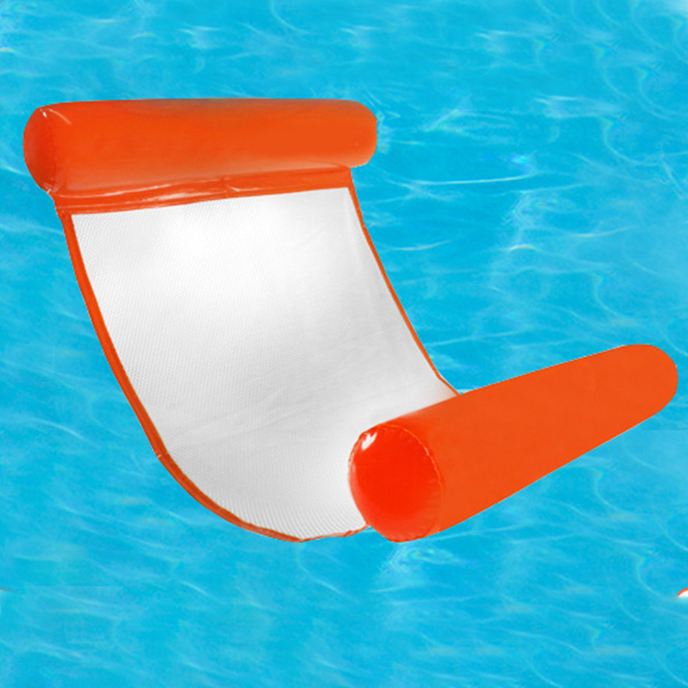 Summer PVC Outdoor Water Hammock Swimming Pool Kids Adult Foldable Inflatable Floating Bed Chair Beach Lounger Backrest Recliner