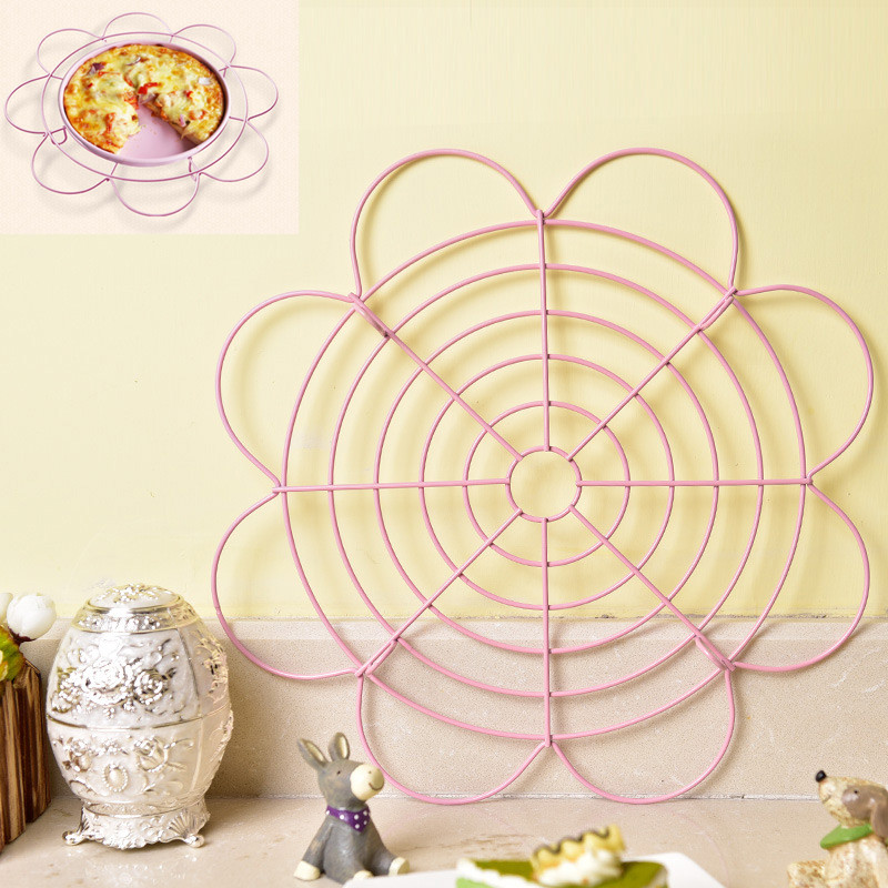 Nonstick kage køleholdere Wire Net Flower Form Cookies Kiks Tørring Stand Cooler Holder Pan Ovn Kitchen Baking Tools BM48