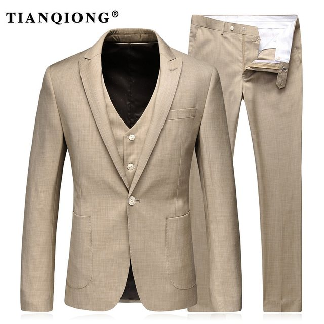 Online Shop TIAN QIONG Khaki Suits for Men 2017 Brand Clothing ...