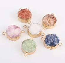 Beadsland Round Nature Stone Gold Plating Geode Druzy Quartz Connectors Colourful Pendant DIY Necklace Bracelet