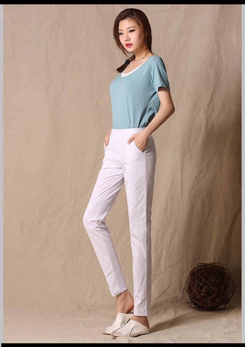 Women Ankle Length linen pants casual pencil pants sport pants Slim solid spring summer autumn trousers for women plus size A375 d