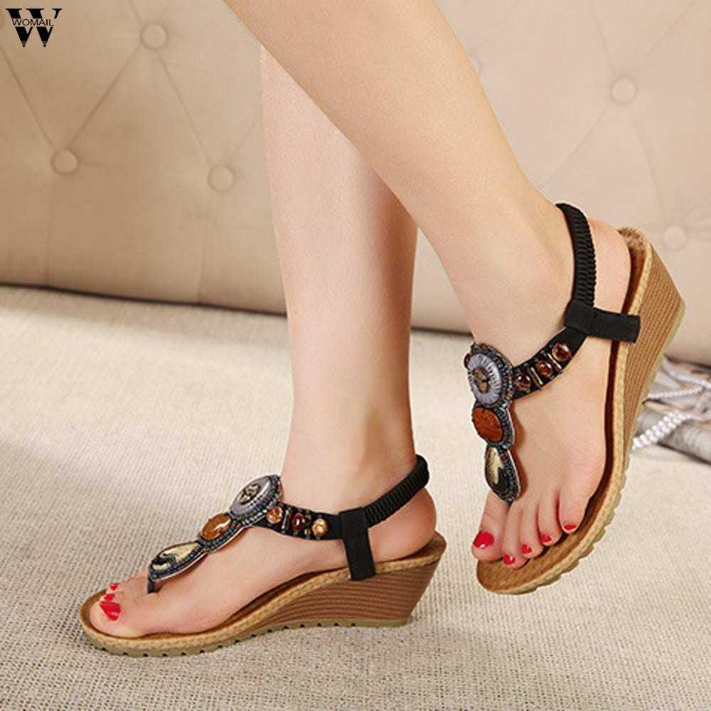 Vrouwen schoenen 2019 hot fashion vrouwen sandalen elastische t-strap bohemen Strand Kralen slipper platte sandalen vrouwen zomer schoenen jan14