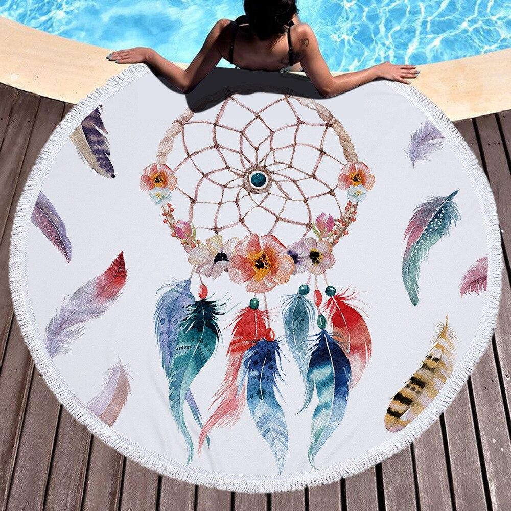Dream Catcher Feather Boho Indian Mandala Microfiber Round Beach Towel Blanket With Tassels Large Fringe Serviette De Plage