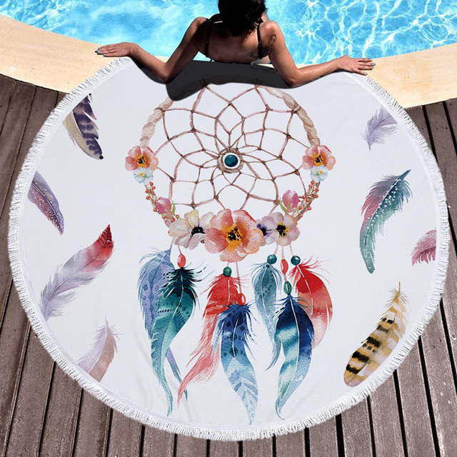 Dream Catcher Piuma Boho Indiano Mandala Microfibra Rotonda Telo mare Coperta Co