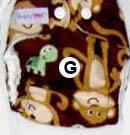 Моющиеся Новорожденные ткань пеленки 1 шт. ткань пеленки+ 1 шт. вставки - Цвет: monkey G