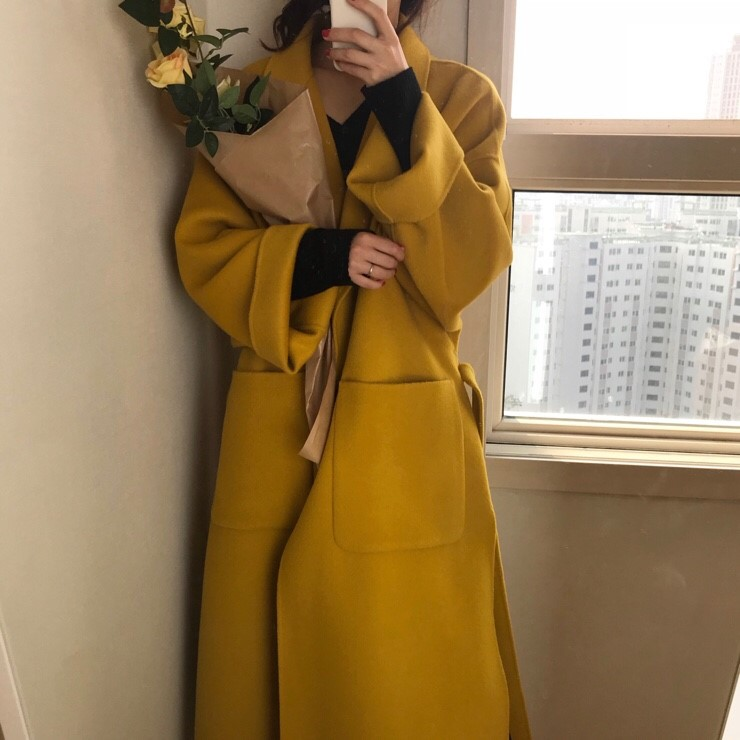 Women Elegant Winter wool Overcoat Long Bandage Woolen Coat Cardigan Loose Plus Size Abrigos Mujer Manteau Femme Hiver 3