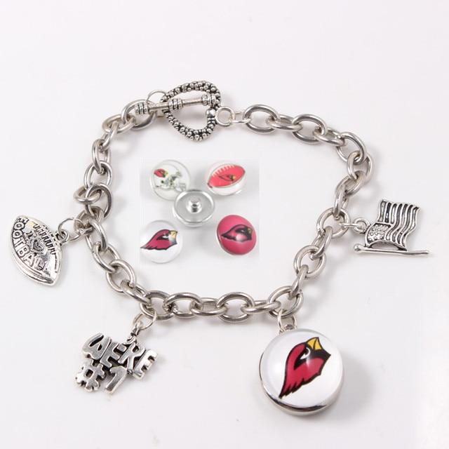 18mm Snap On Bracelet American Football Team Arizona Cardinals Link Chain Bracelets Jewelry For Sports