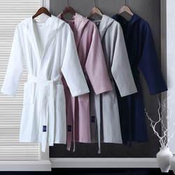 Гостиничный халат для мужчин женщин чистый хлопчатобумажный, Вафельный Рисунок ванной халаты сезон: весна-лето тонкий ЗАКАЗ пара длинный