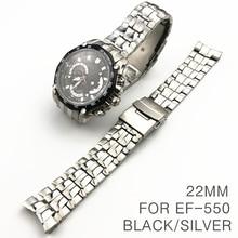 YangQi 22mm saat kayışı Casio EF 550 paslanmaz çelik erkek kayış maç kavisli son marka Watchband su geçirmez siyah gümüş kemer