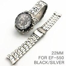 Yangqi 22Mm Horloge Band Voor Casio Ef 550 Rvs Man Band Match Gebogen End Merk Horlogeband Waterdicht Zwart zilveren Riem