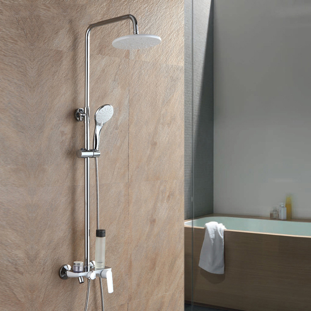 Shower Set 3 Styles Bathroom Thermostatic Mixer Round Head Shower Wall  Mounted Shower Faucet Set Bathtub