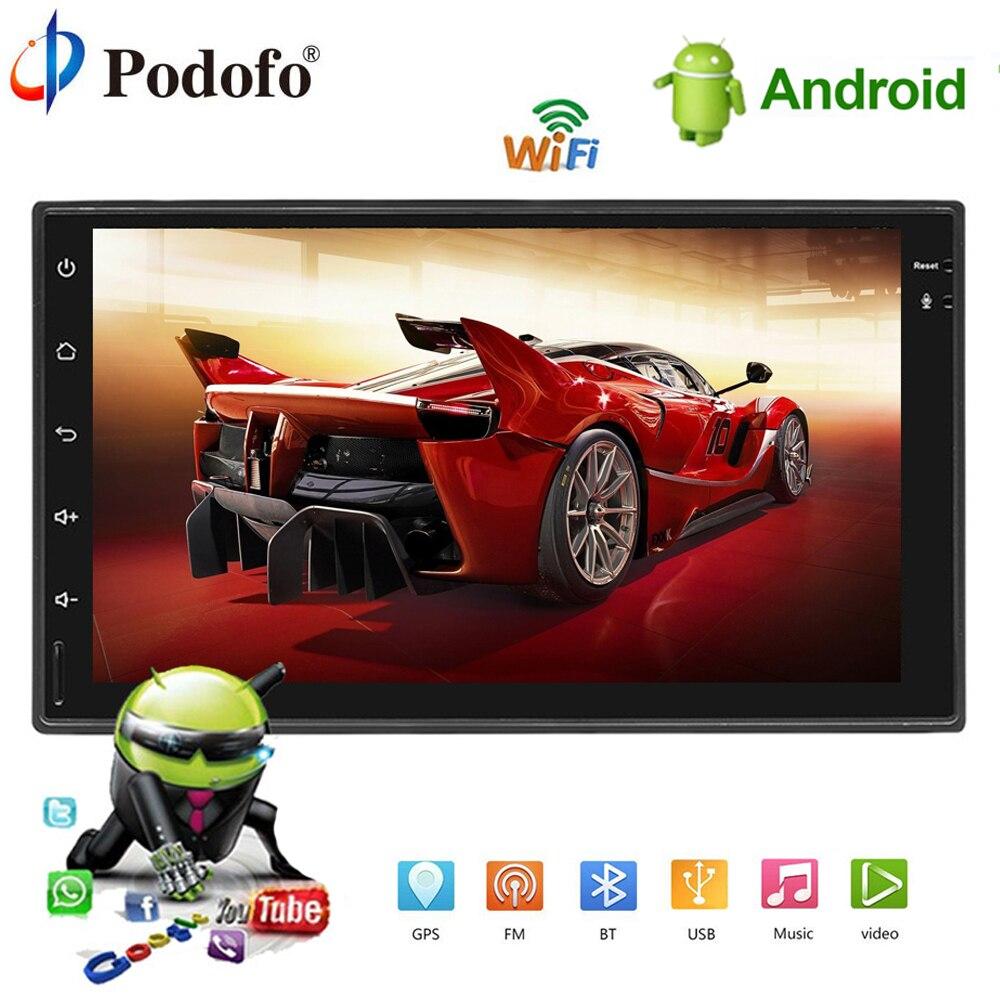 Podofo 2DIN Android автомобильный мультимедийный плеер gps навигации Bluetooth автомобильного радио стер Сенсорный экран MP5 плеер 2din Авторадио TF USB