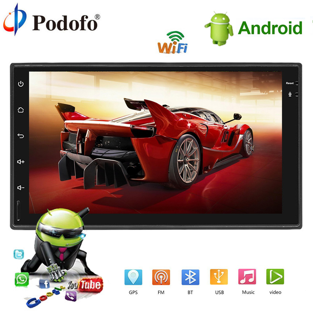Podofo 2DIN Android Car Multimedia Player GPS Navigation Bluetooth Car Radio stere Touch Screen MP5 Player 2din Autoradio TF USB