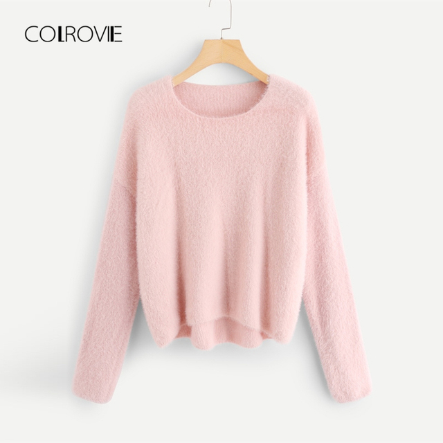 2db1f5ca9f COLROVIE Pink Solid Asymmetric Long Sleeve Knitted Casual Sweater 2018  Streetwear Fluffy Pullover Winter Female Jumper