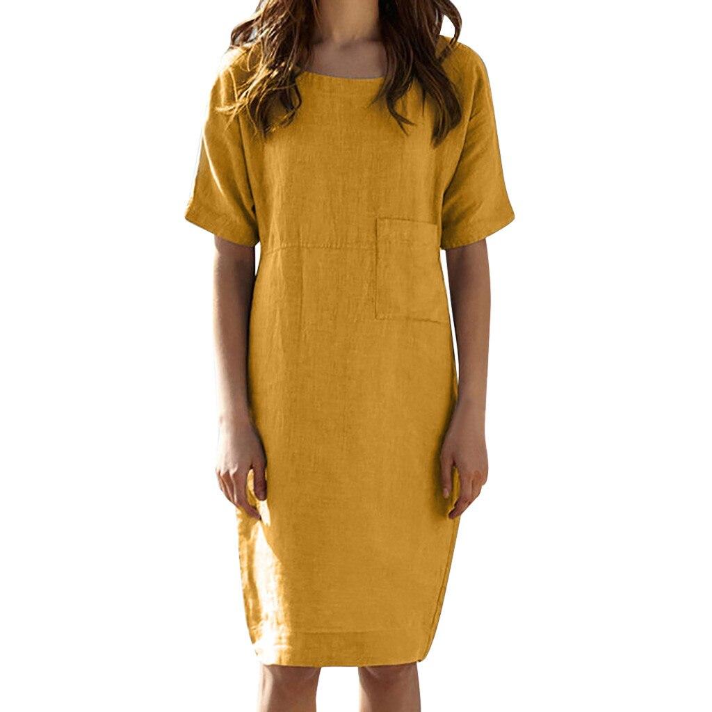Womens Summer Short Sleeve Linen Dress Loose A-line Party Sundress Pocket Dress S-2XL льняные белорусские платья