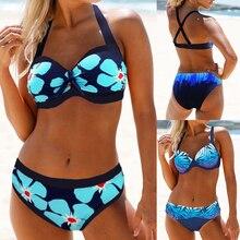 Женский купальник с лямкой через шею, бикини,, с вырезом на спине, Цветочный купальник, с открытой спиной, два предмета, купальник для женщин, летняя пляжная одежда